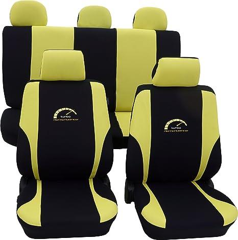 ecoclass tg004 Asiento Turbo Amarillo Negro Fundas de colchón Asiento Fundas Asiento de coche
