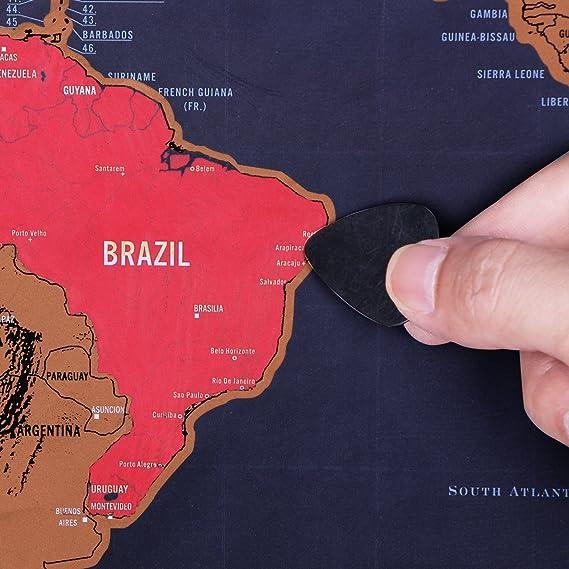 Mitavo Premium mapa para rascar ¡con rascador!, rascar mapamundi para niños y adultos, mapa para rascar con funda-tubo resistente/tubo de regalo Map: ...