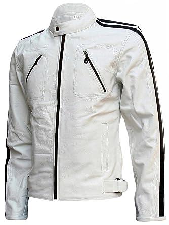 Moderne Homme Cuir Pour Unique Veste Blanc En Taille rSPxZqwr