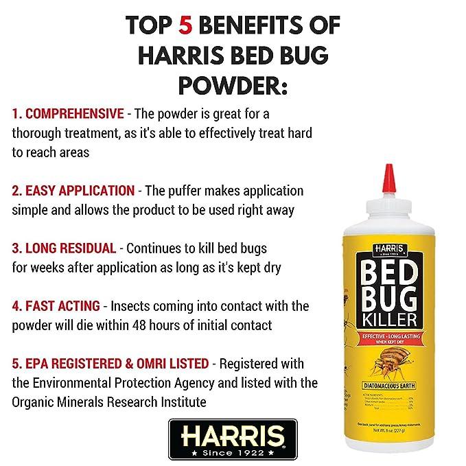 Amazon Com Harris Hde 8 Bed Bug Powder Diatomaceous Earth 8oz