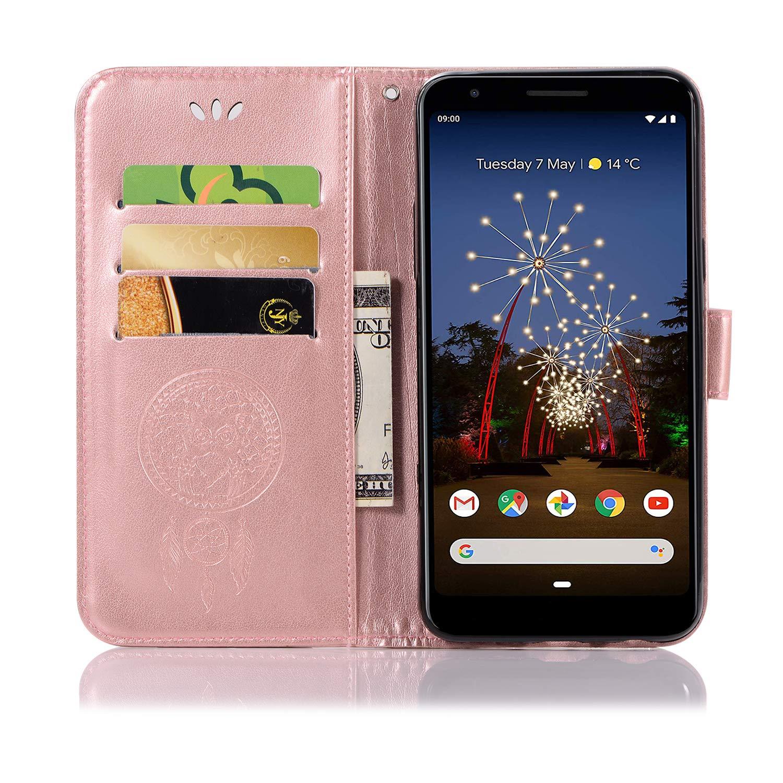 Aslim Pixel 3a Case,Pixel 3 Lite Wallet Flip Case,Pixel 3a PU Leather Case Owl Dreamcatcher Embossed Purse Kickstand Cover Card Holders Hand Strap for Google Pixel 3 Lite//Pixel 3a Black
