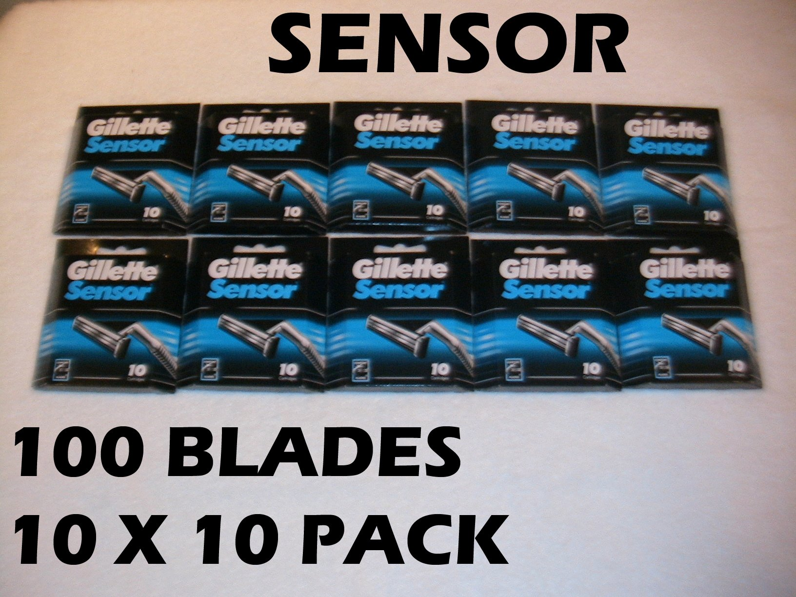 Gillette Sensor - 100 Blades (10 x 10 or 20 x 5 Packs)