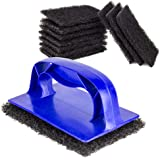 [10 Pads, 1 Holder Pack] Grill Cleaner Pads and Holder - Griddle Metal Scouring Scrubber, Heavy Duty Degreaser of Stainless Steel Flat Tops, BBQ Stain, Scraper for Outdoor, Restaurant and Home Kitchen