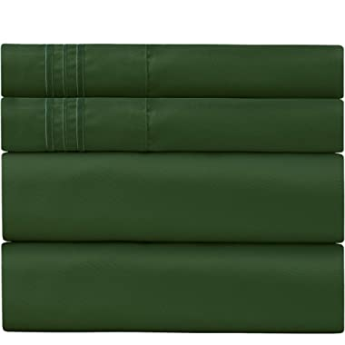 Sweet Sheets Bed Sheet Set California King Emerald Green - 1800 Double Brushed Microfiber Bedding - Wrinkle, Fade, Stain Resistant - Soft and Durable - 4 Piece (California King, Emerald Green)