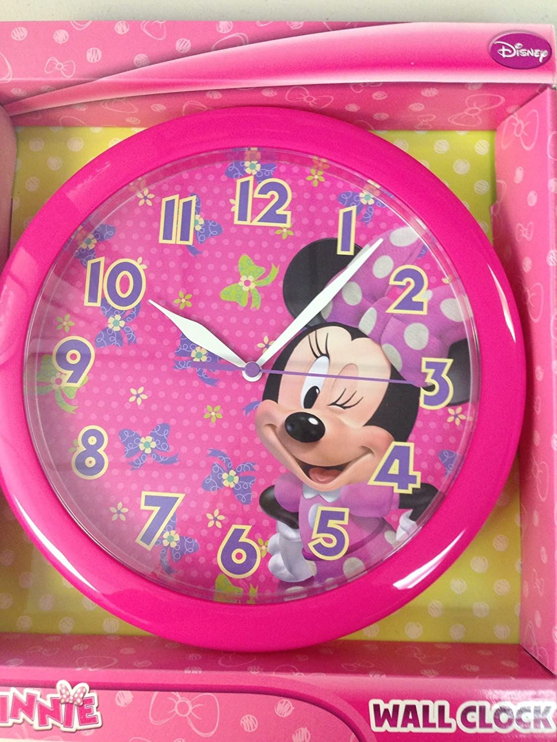 Amazon minnie bowtique disney 10 wall clock quartz amazon minnie bowtique disney 10 wall clock quartz accuracy easy wall mounting battery operated requires 1 aa battery not included home amipublicfo Image collections