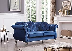 Glory Furniture Hollywood Loveseat Love Seats, Navy Blue