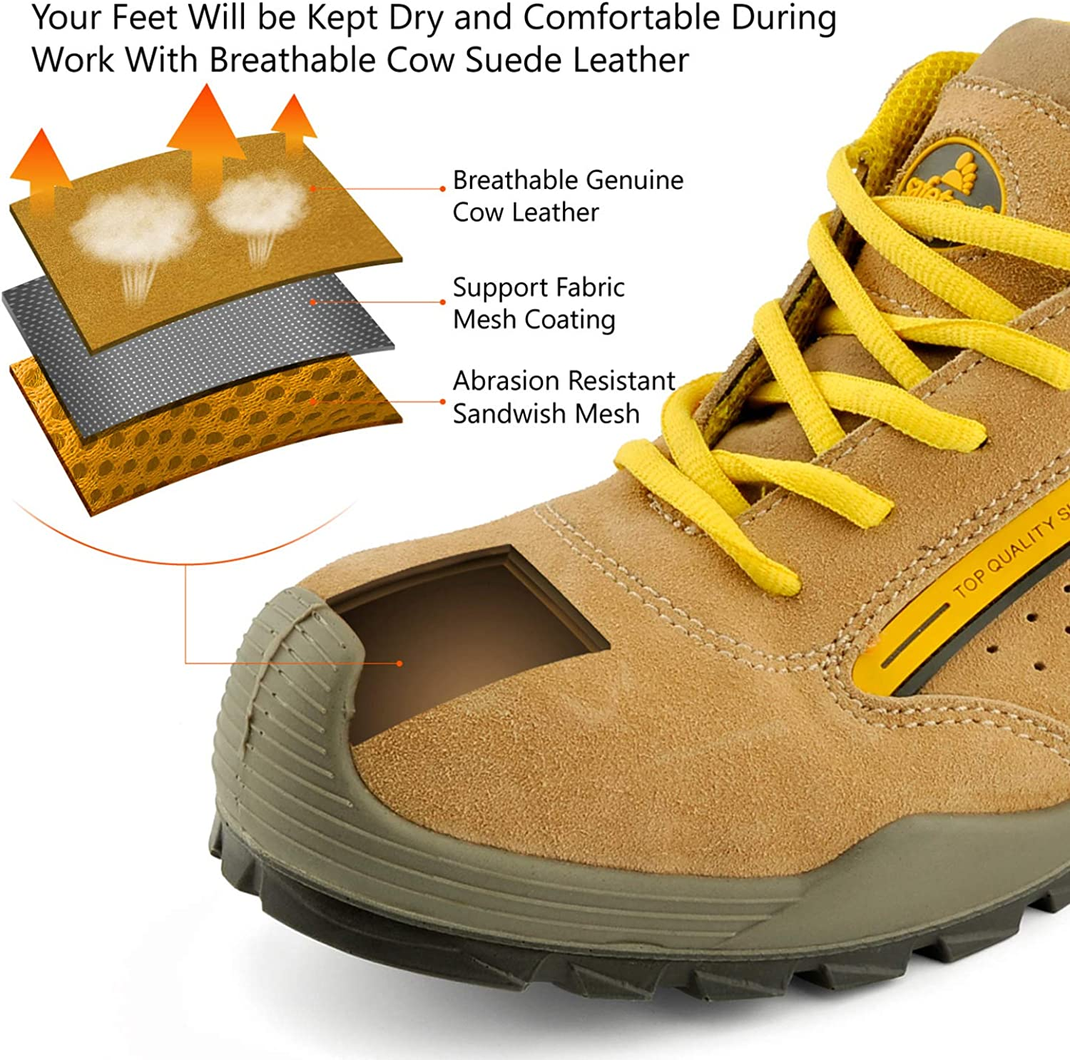Safetoe Mens Safety Work Boots Steel Toe Cap Shoes Outdoor Hiking Sport Sneakers