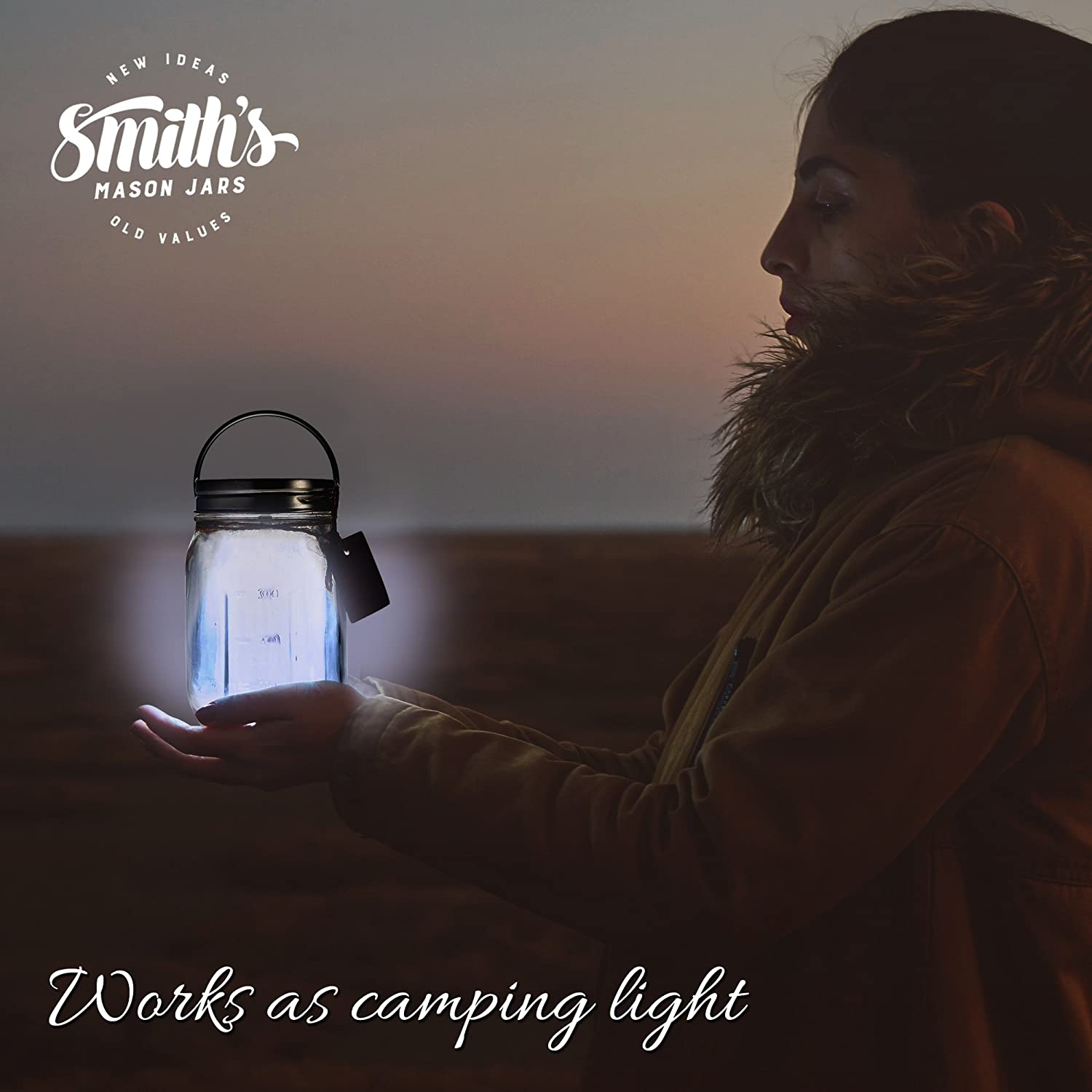 Jar Included - Great for Kids Nite light! battery not inc Smiths Mason Solar Assisted powered Night Lite