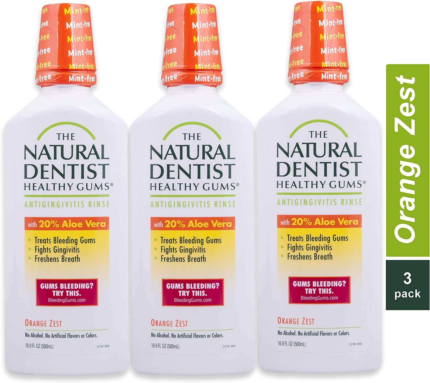 The Natural Dentist Healthy Gums Mouth Wash, Orange Zest, 16.9 Ounce Bottle (Pack of 3)