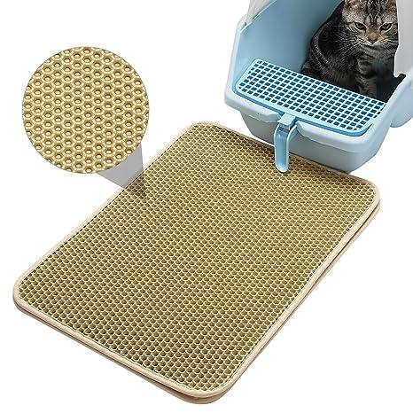 Pawaca Alfombra para Gatos, Cat Litter Mat Doble Capa Impermeable Alta Elástico EVA Estera de