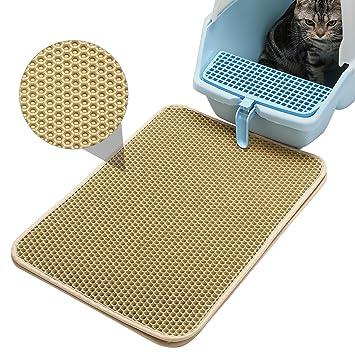 Cat Litter Mat/Alfombra para Gatos, Alfombrilla Rascadora,Estera de Arena para Gatos,Doble Capa Secado Rápido Impermeable Flushable 40x50cm,Beige: ...