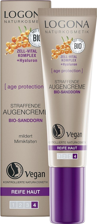 LOGONA Naturkosmetik age protection straffende Augencreme, Anti-Aging, Vegan, 1er Pack (1 x 15 ml) 02655
