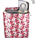 E-Retailer™ Classic Pink Leaves Semi-Automatic Washing Machine Cover Upto 7 Kg Capacity