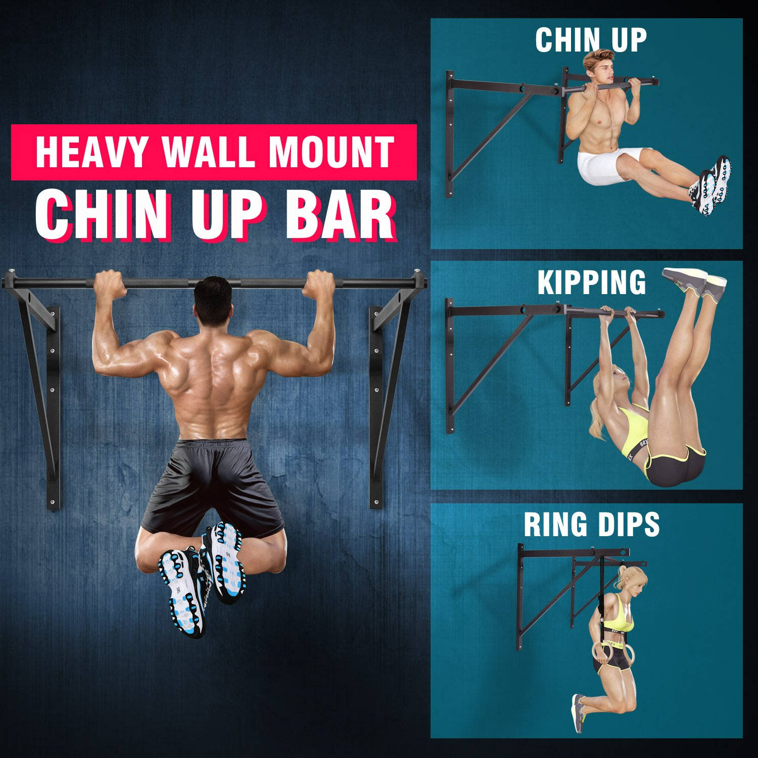 eac398c3f6a Amazon.com   Yes4All Wall Mounted Pull Up Bar for Crossfit Training - Chin Up  Bar Pull Up Bar Wall Mount - Support up to 500 lbs (Black)   Sports    Outdoors