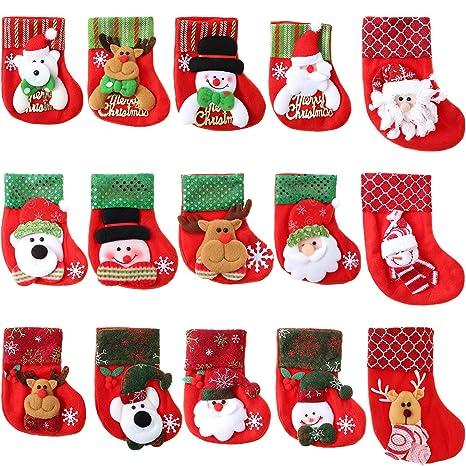 15 Piezas de Mini Calcetines de Navidad 3D Bolsa de Regalo de Fieltro de Papá Noel