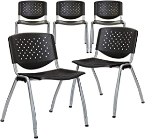 Phoenix Home Lublin Stackable Plastic Conference Chair, 5-Pack, Black and Silver