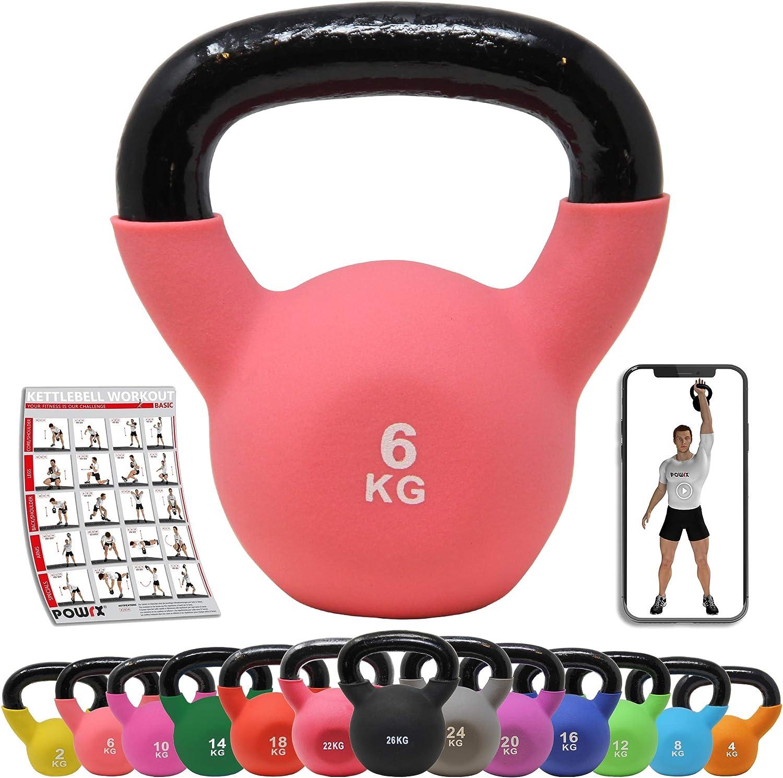 POWRX Kettlebell Hierro Fundido 2-26 kg - Pesa Rusa con Revestimiento de Neopreno - Peso y Color a Elegir + PDF Workout