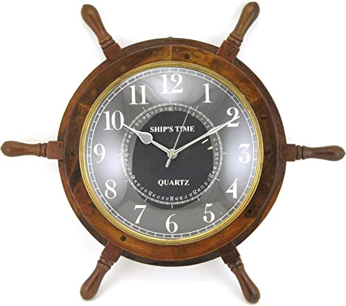 Home Collection Wood Ship Wheel Wall Clock with Antique Brass Metal Trim, 25-inch, Nautical