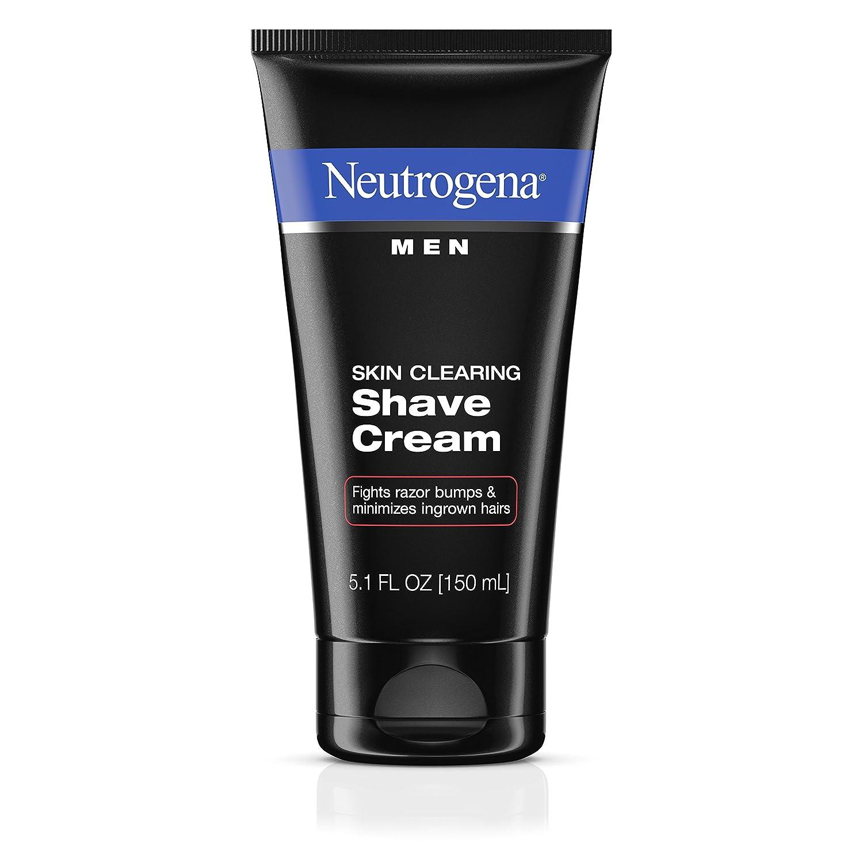 Neutrogena Men Skin Clearing Shave Cream, Oil-Free Shaving Cream to Help Prevent Razor Bumps & Ingrown Hairs, 5.1 fl. oz (Pack of 2) 070501020258