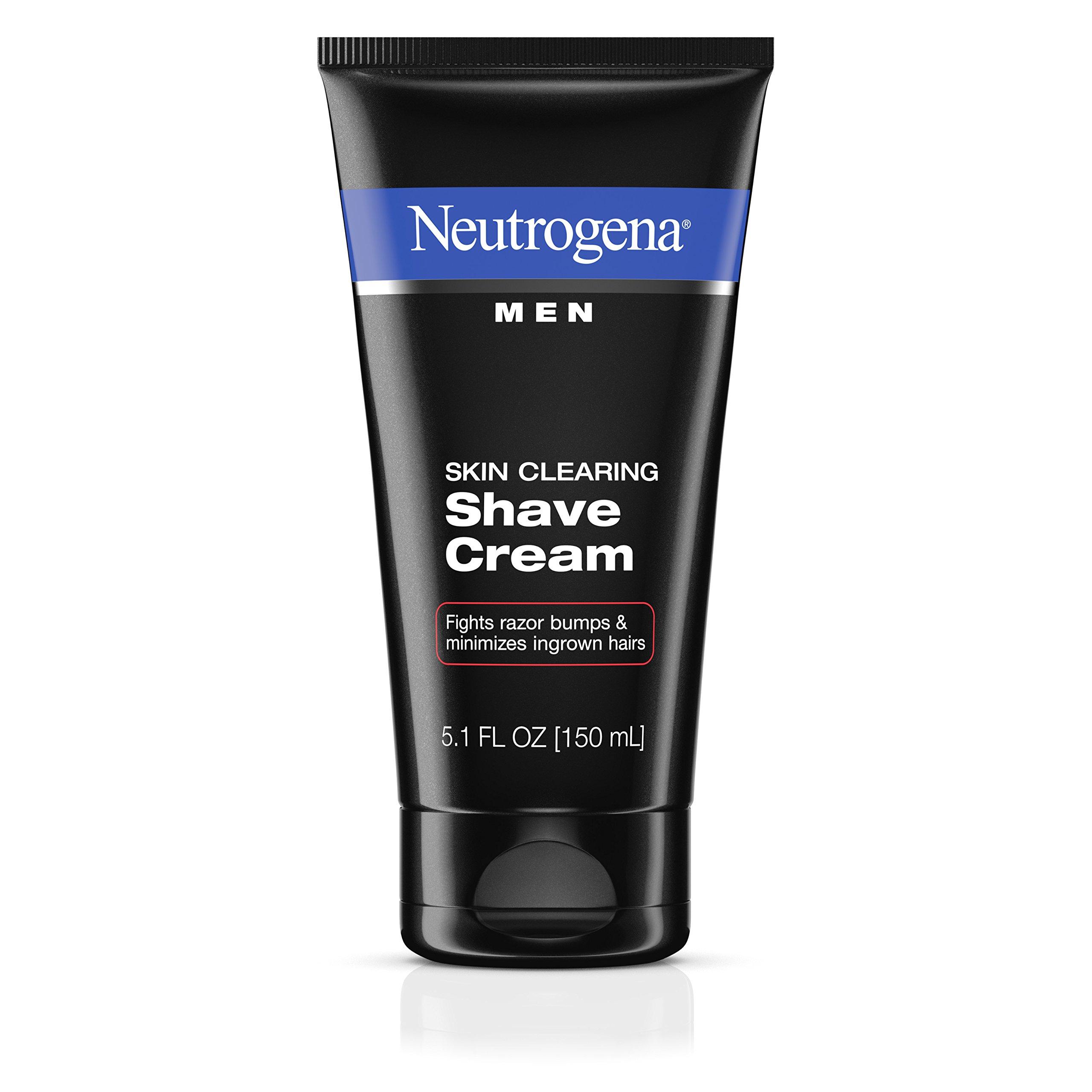 Neutrogena Men Skin Clearing Shave Cream, Oil-Free Shaving Cream to Help Prevent Razor Bumps & Ingrown Hairs, 5.1 fl. oz (Pack of 2)