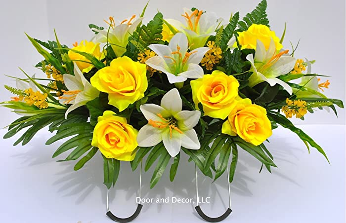 Amazon spring or easter cemetery flowers with yellow roses and spring or easter cemetery flowers with yellow roses and easter lilies for grave decorations mightylinksfo