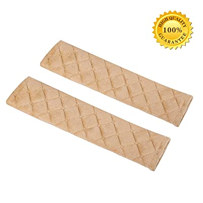 Seatbelt Covers,Car Belt Protector,Carsemoo Seat Belt Shoulder Strap Cover Harness Pads For Car/Bag,Soft Comfort Helps Protect You Neck And Shoulder From The Seatbelt Rubbing/Lrritation (Beige 2-Pack): Automotive