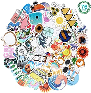 Outus 76 Pieces Water Bottle VSCO Stickers Waterproof Aesthetic Stickers Vinyl Stickers Decals Girls Teens Decals for Laptop, Phone, Cars, Luggage and Guitar