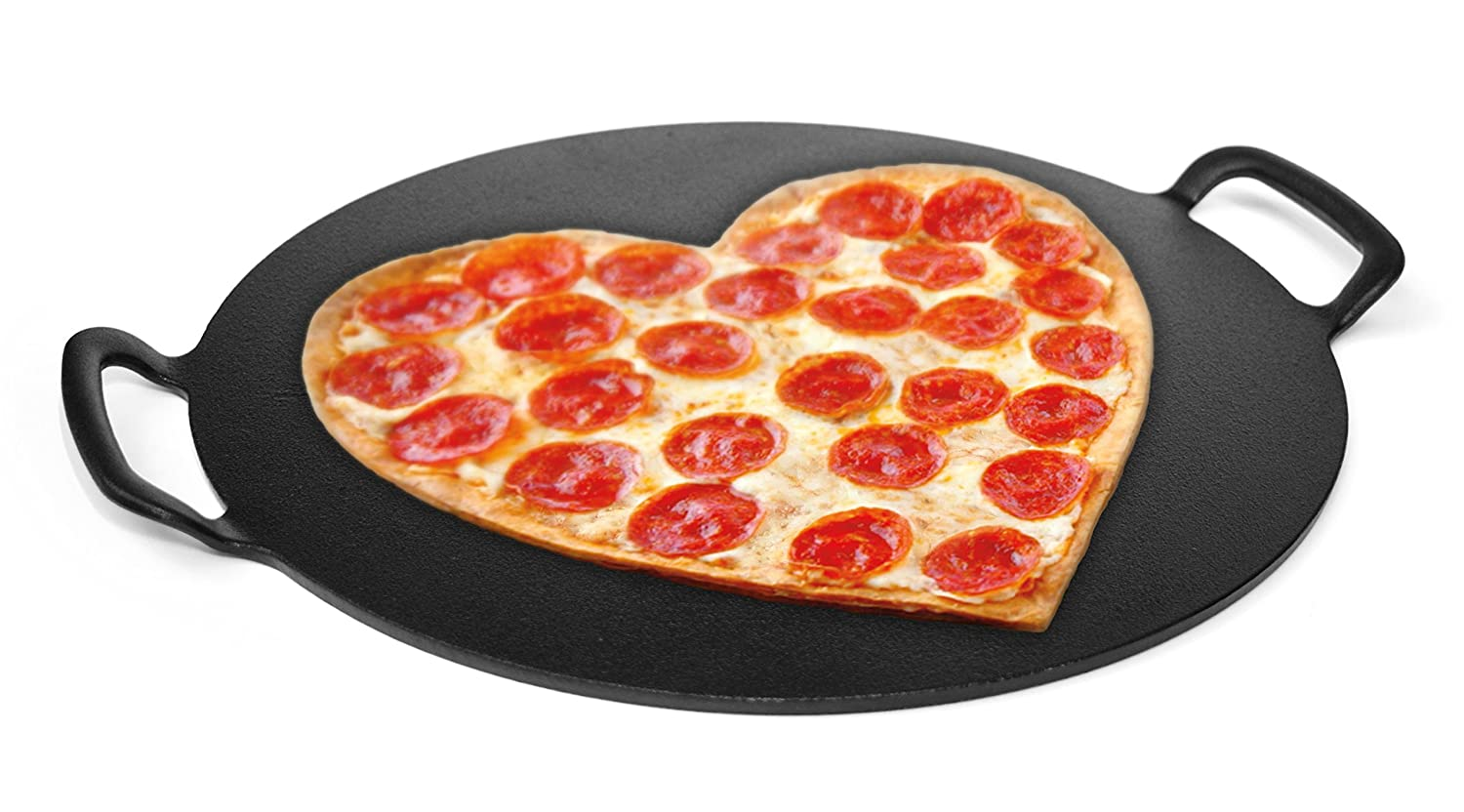 15 Pizza Stone, Solid Cast Iron. TOTALLY FLAT. INDESTRUCTIBLE. Perfect Pizza Crust from your Home Oven or Grill. 15 Pizza Stone PATINA Premium SYNCHKG104944