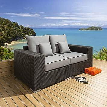 3ff54bd9886f Quatropi Luxury Outdoor Garden 2 Seater Sofa Black Rattan / Grey S2:  Amazon.co.uk: Garden & Outdoors