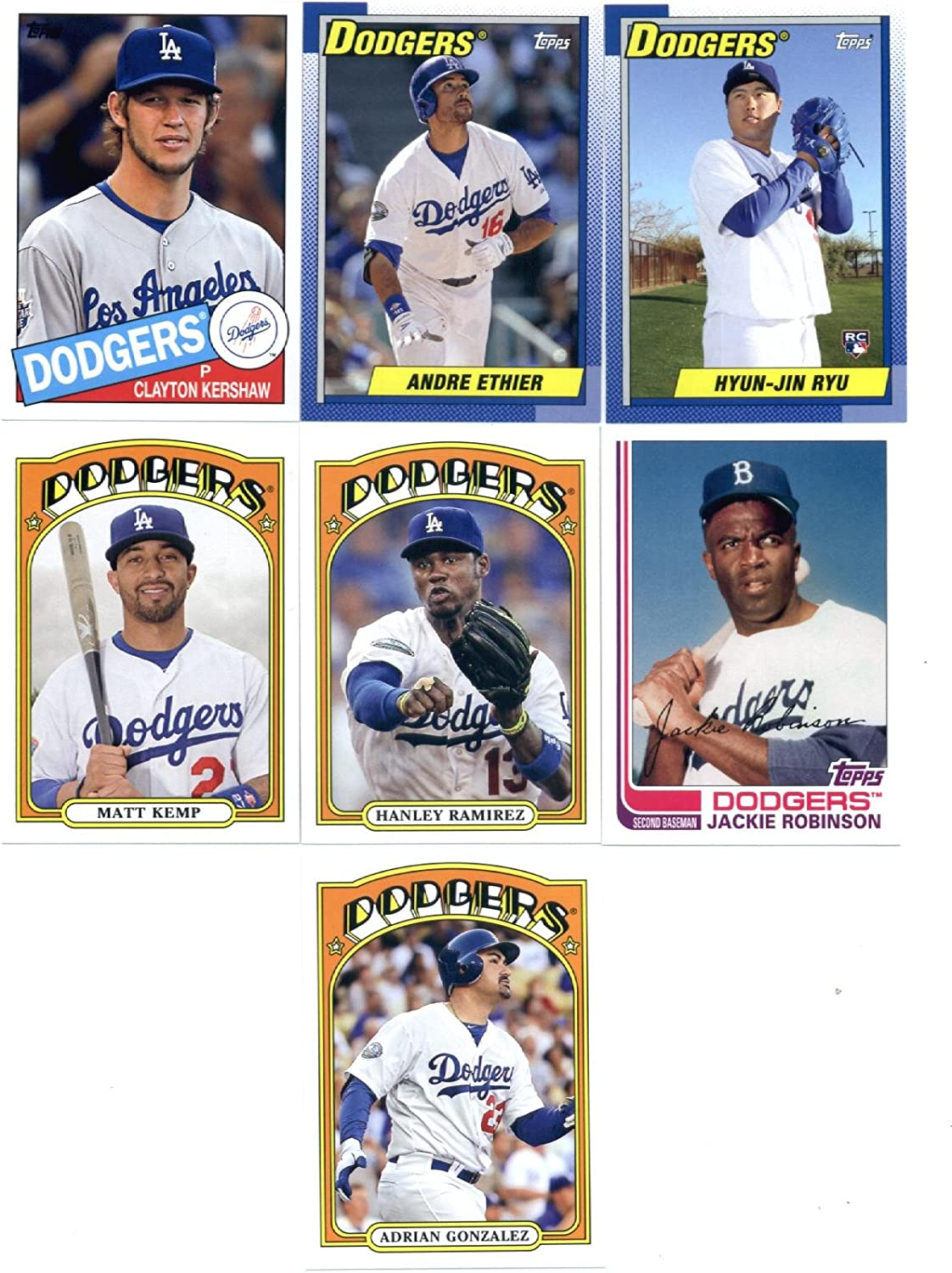 B00D64WZLY 2013 Topps Archives Baseball Cards Team Set - Los Angeles Dodgers (7 Cards) : Adrian Gonzalez Matt Kemp Hanley Ramirez Jackie Robinson Clayton Kershaw Hyun-Jin Ryu Andre Ethier 81y6udbRM8L