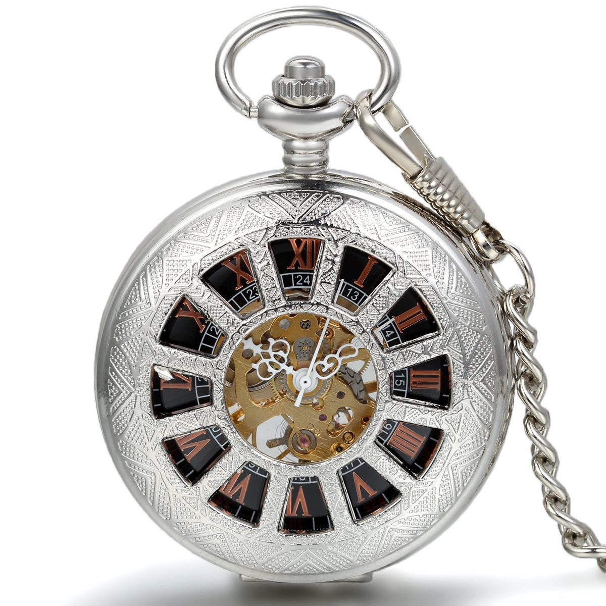 JewelryWe Deluxe Wheel Style Pocket Watch, Mechanical Movement Hand Wind Pocket Watch, Half Hunter Watch with Chain by Jewelrywe