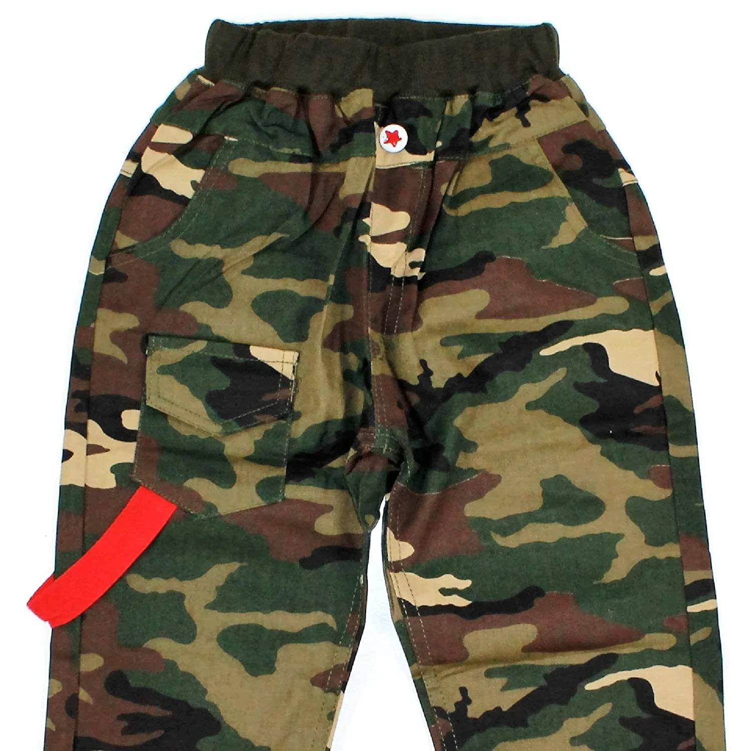 Fashcentric Little Boys Camouflage Ribbed Waist Canvas Carpenter Pants