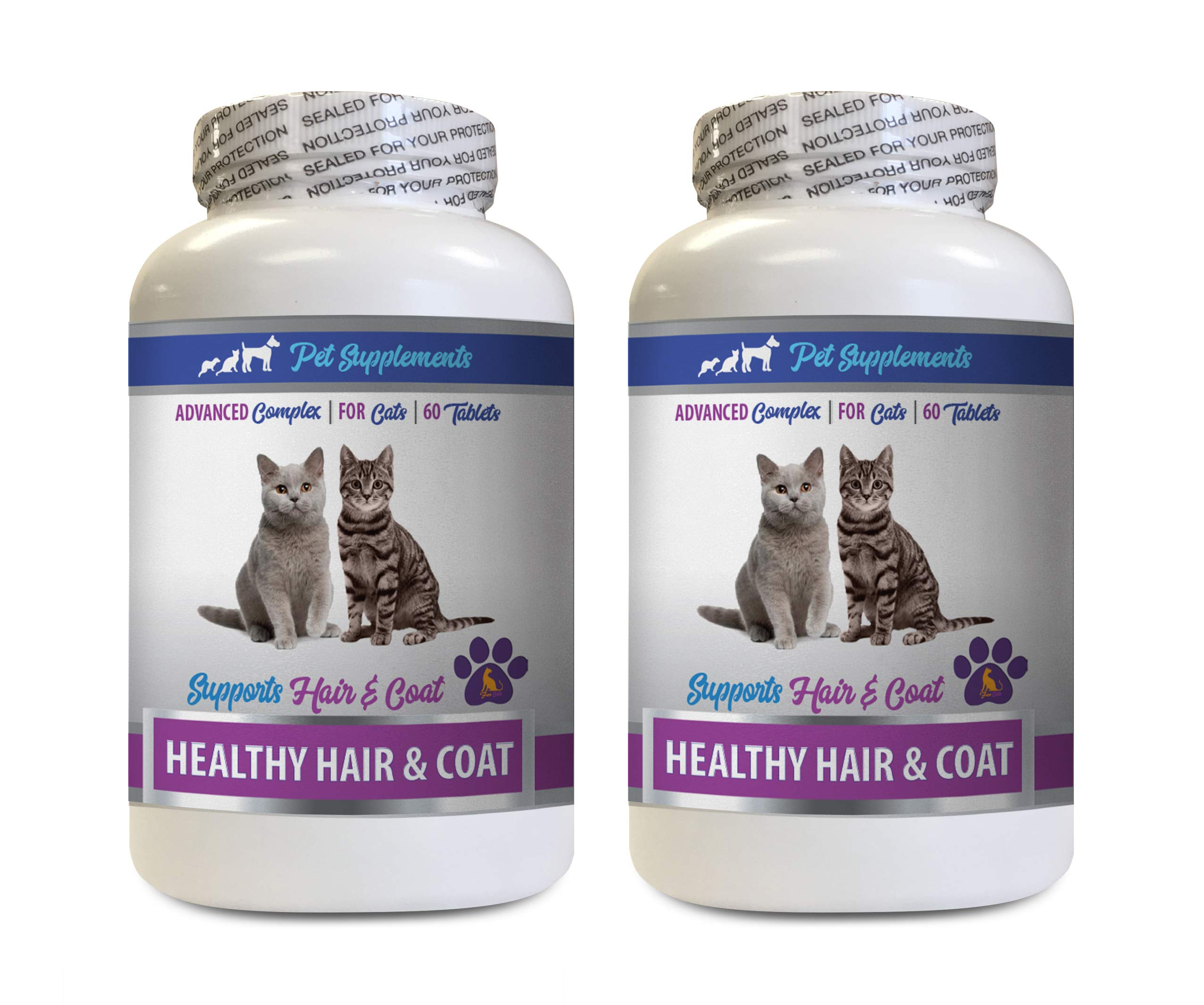 cat Dry Skin Relief - Best Healthy Hair and Coat Supplement for Cats - Advanced Complex - Nail Health - Cats Immune Support - 2 Bottles (120 Tablets)