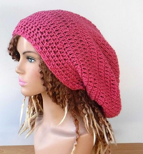 4f6839ef461 Amazon.com  Handmade raspberry pink long dread tam