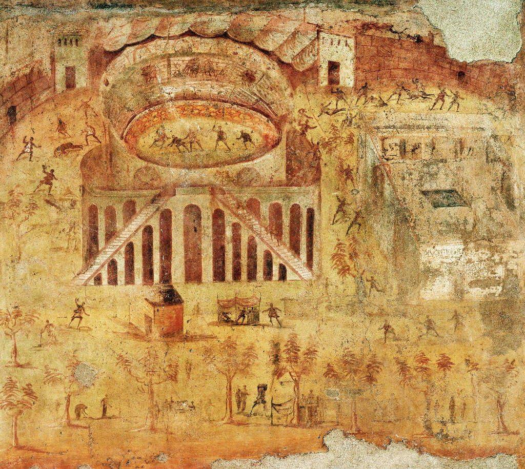 Kunst für Alle Impresión artística/Póster: 1. Jahrhundert Pompeii Amphitheatre Riot Fresco - Impresión, Foto, póster artístico, 90x80 cm