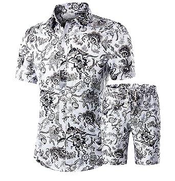 cade0311acb3 Zimaes Men Set Baggy Floral Print Short Elastic Waist Shorts 2 Piece at  Amazon Men s Clothing store