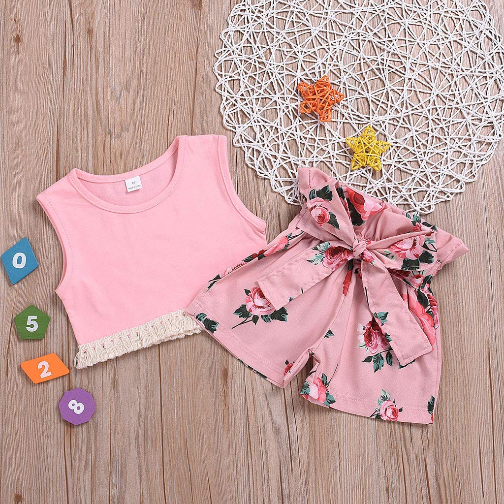 Toddler Girl Tassel Outfits,Suma-ma Baby Girls Vest Sleeveless Tops Floral Printed Bow Shorts Summer Outfits