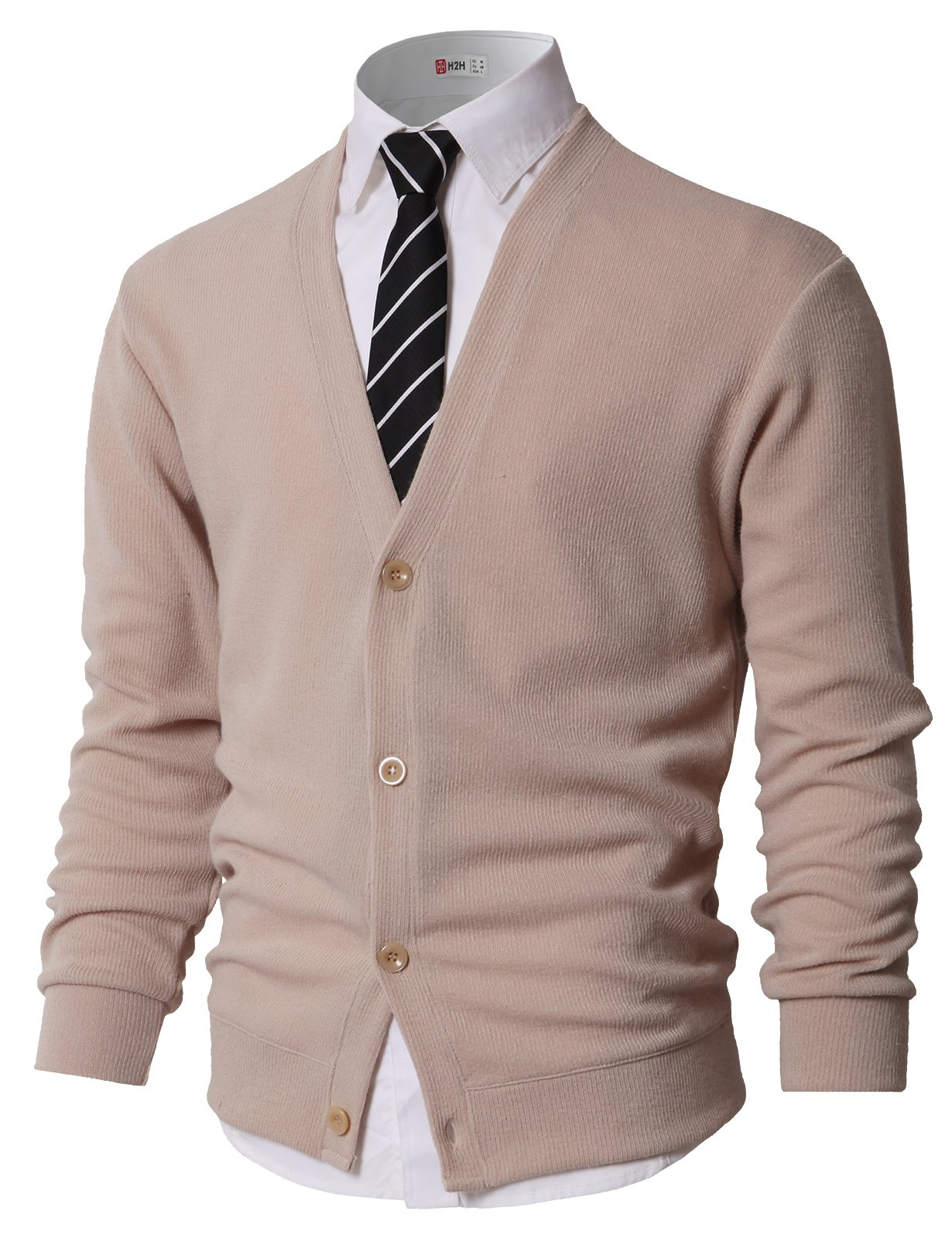 H2H Men's Basic Slim Fit Cardigan Sweater Casual V Neck Button Down Knitwear Beige US L/Asia XL (KMOCAL0179)