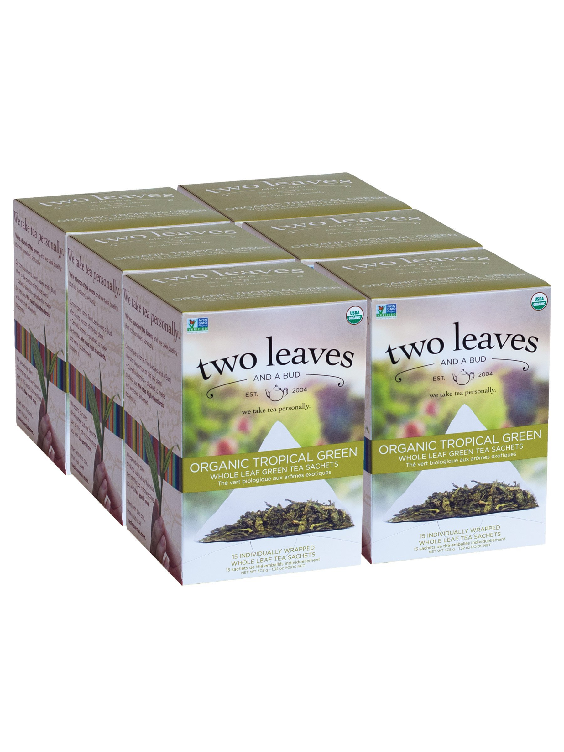 Two Leaves and a Bud Organic Tropical Green Tea Bags, 15 Count (Pack of 6) Organic Whole Leaf Moderate Caffeine Green Tea in Pyramid Sachet Bags, Delicious Hot or Iced, with Sugar or Honey or Plain