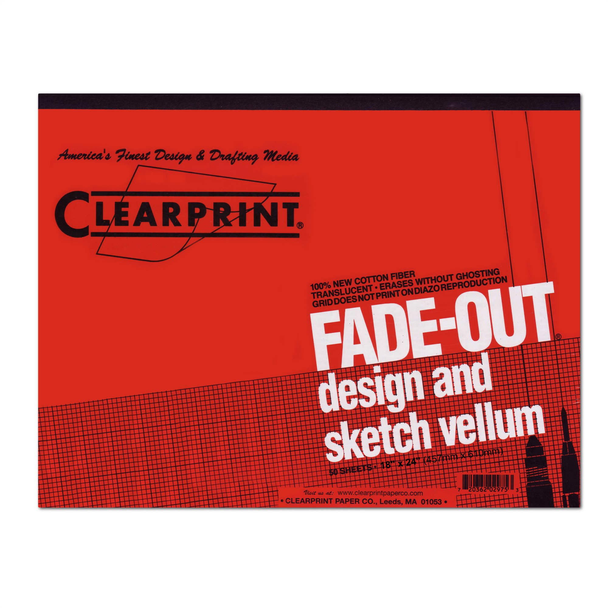 Clearprint 1000H Design Vellum Pad with Printed Fade-Out 4x4 Grid, 16 lb, 100% Cotton, 18 x 24 Inches, 50 Sheets, Translucent White, 1 Each (10004422) by Clearprint