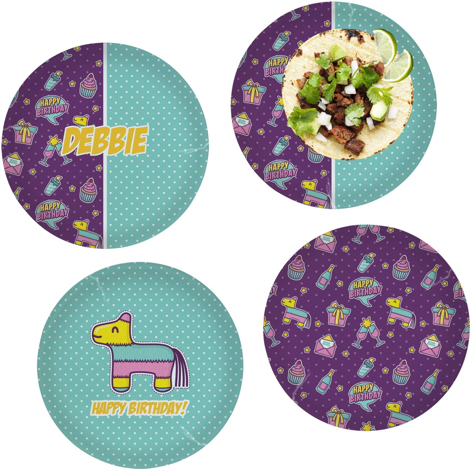 Pinata Birthday Set of 4 Glass Lunch/Dinner Plate 10'' (Personalized) by RNK Shops (Image #1)