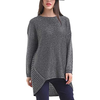 Mad Style Crew Neck Shimmer Sweater Tunic With Shark Bite Hem Sm