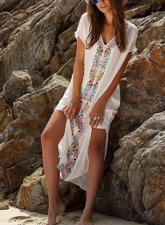 d2f28c39c1be GenialES Túnica Pareo de Playa con Bordado Bikini Cover Up Vestido Largo  Cubierto de Bañador Talla única