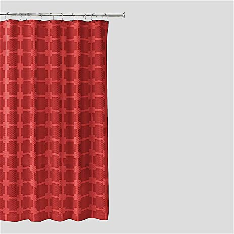 Luxury Red Jacquard Fabric Shower Curtain Geometric Squares Design
