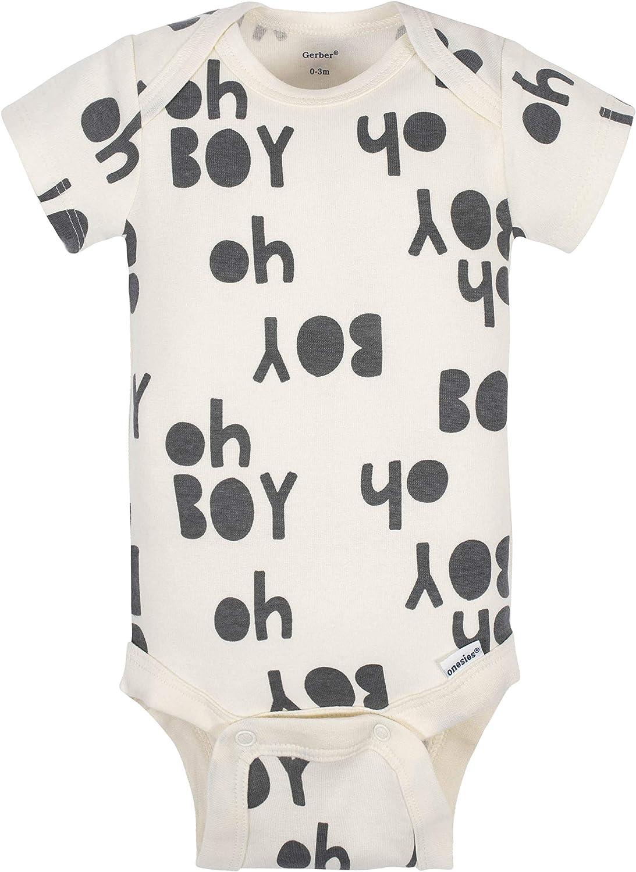 Grow by Gerber Baby Boys Organic 5-Pack Short-Sleeve Onesies Bodysuits