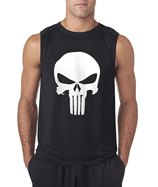 1bc9ea56ed0e8f Amazon.com  New Way 216 - Men s Sleeveless The Punisher Skull  Clothing
