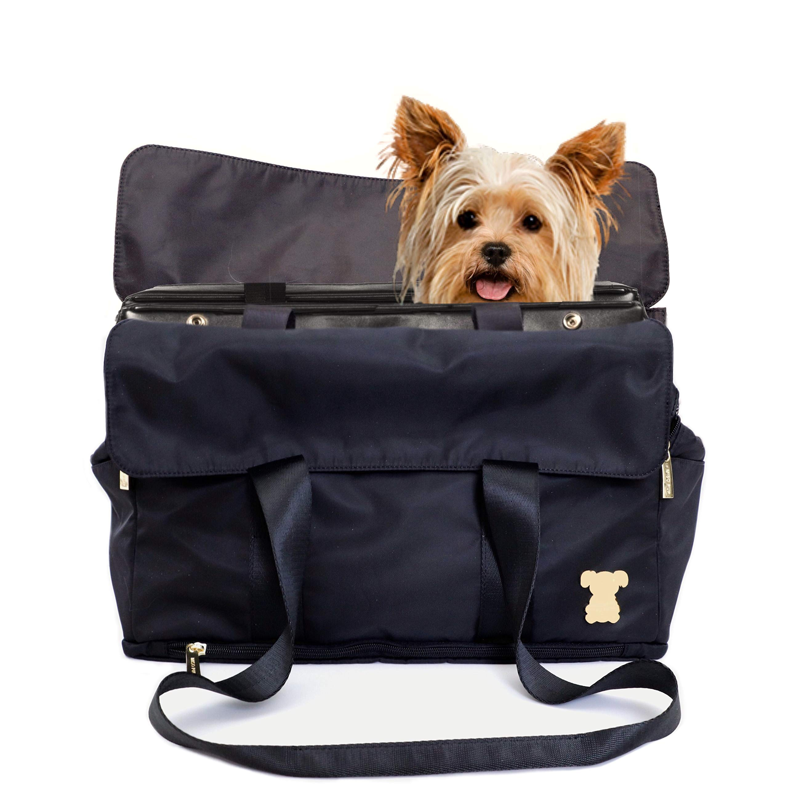 MISO PUP Flap Tote Interchangeable Airline Approved Pet Carrier Combo with Large Document Pockets for Small Dogs (Pet Carrier Base & Shell Tote)