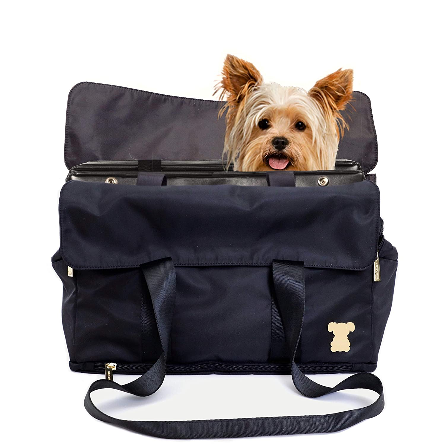 Pet Carrier MISO PUP Flap Tote Interchangeable Airline Approved Pet Carrier Combo with Large Document Pockets for Small Dogs (Pet Carrier Base & Shell Tote)
