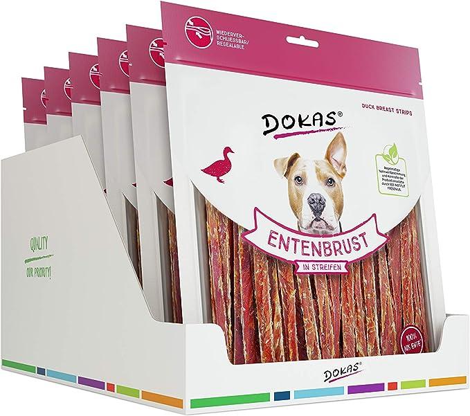 DOKAS Snack Premium sin Cereales en Tiras para Perros, de Filete de Pecho de Pato, 6 x 500 g