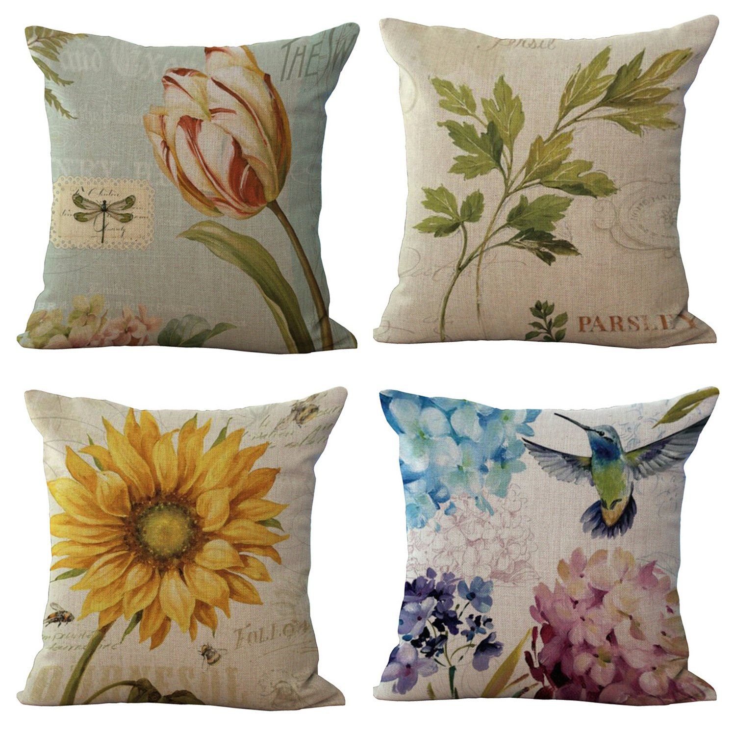 18'' Retro Floral Sunflower Pattern Cushion Cover Home Sofa Throw Pillow Case